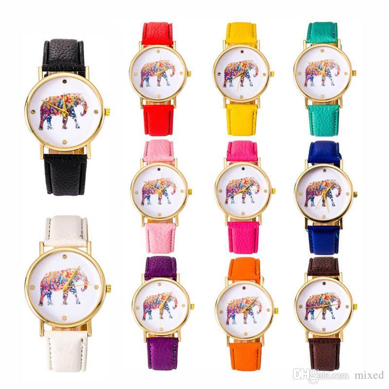 Женские часы Top Brand Luxury Fashion relojes Национальный ветер слон кожа кварцевые часы