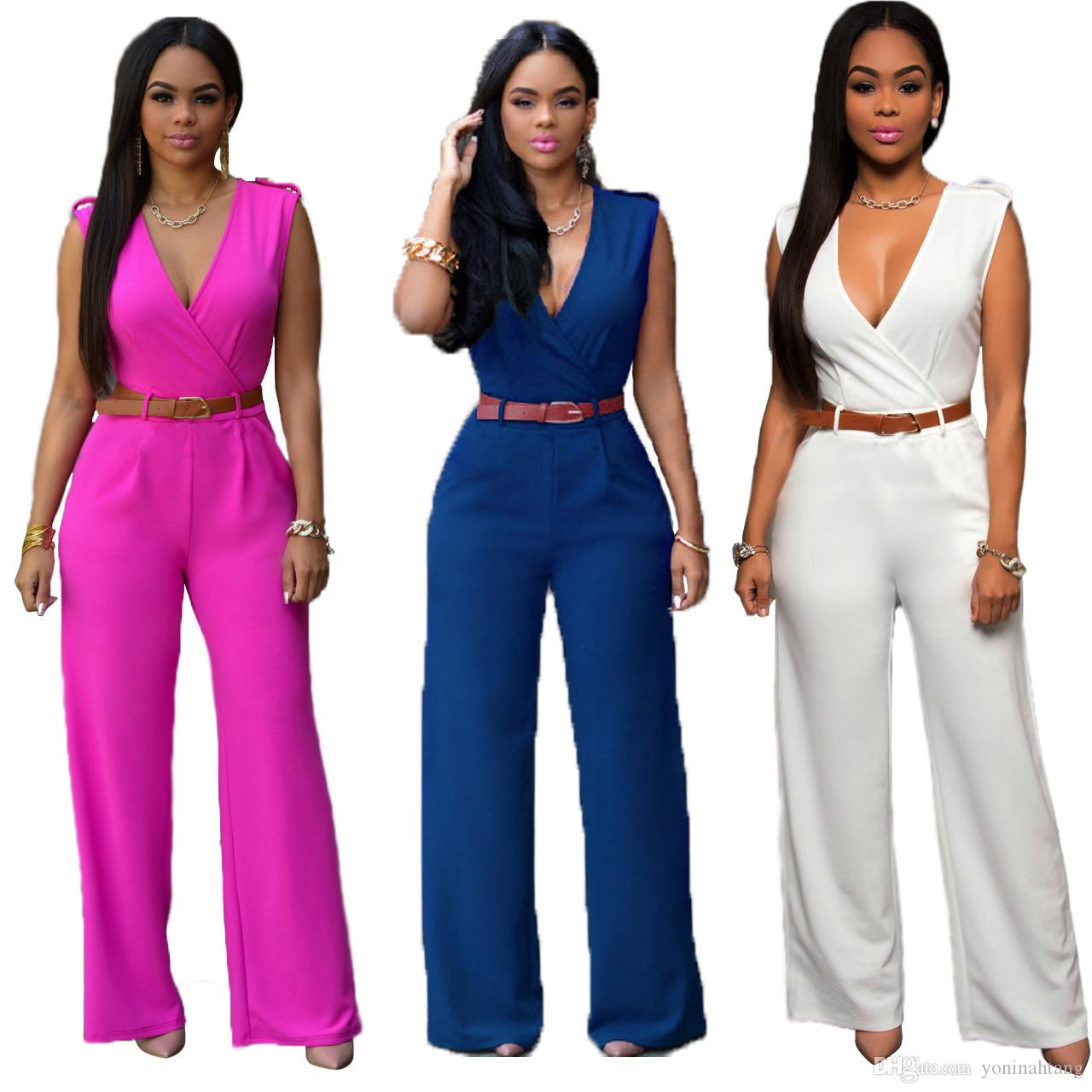 Wholesale free shipping Women Sleeveless V-Neck High Waist Wide Leg Romper Pants Jumpsuit with Belt size S-XL many colors