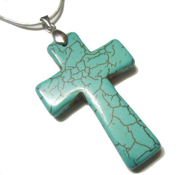 10st / lot turkos kors hängande charmar för DIY Craft mode smycken gåva hängen 45mm TC2