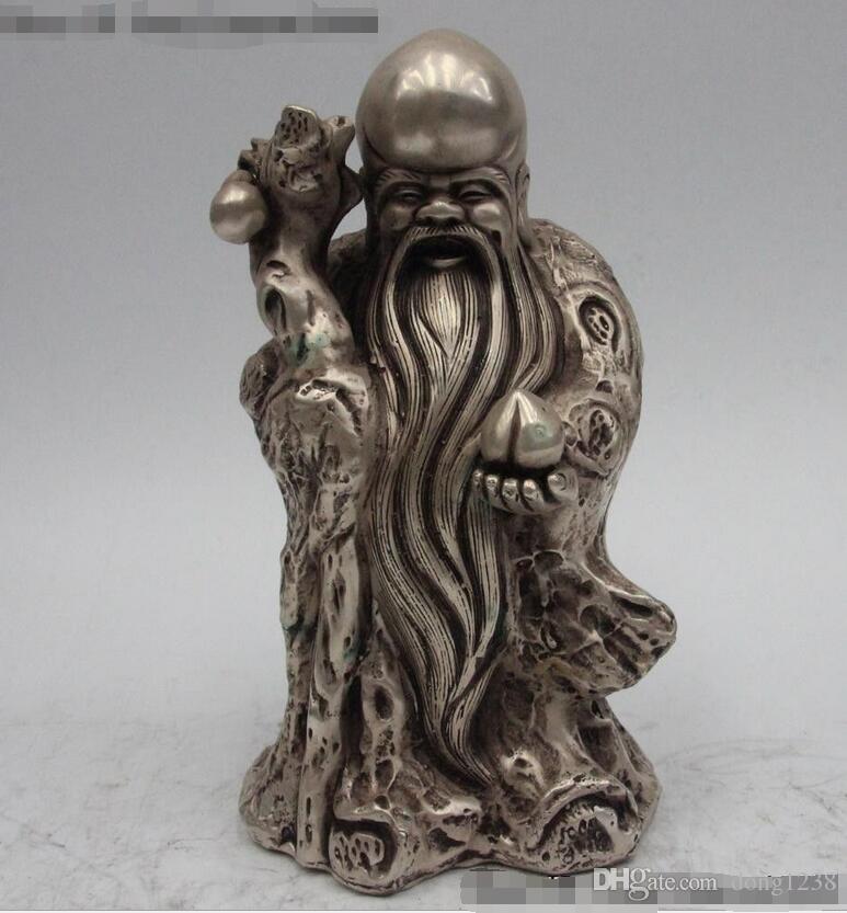 """10 """"Çin Budizm Beyaz Bronz Gümüş Yaldızlı Şanslı Ömür Tanrısı Buda Heykeli"""