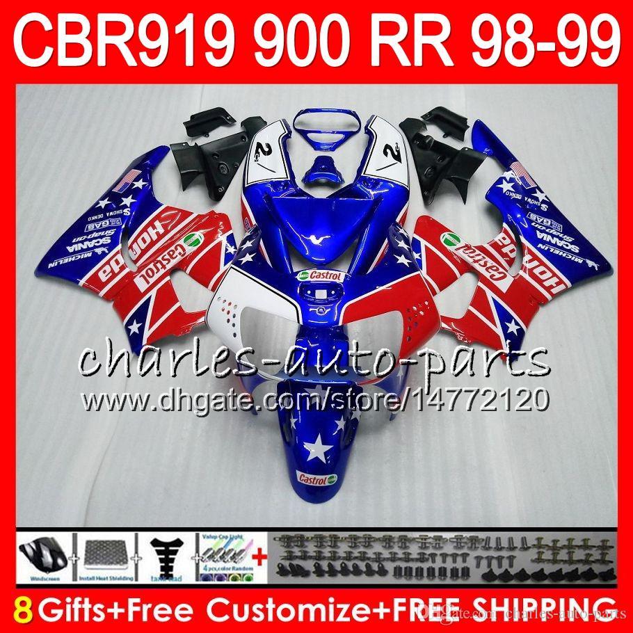 Body For HONDA CBR 919RR CBR900RR CBR919RR 98 99 CBR 900RR 68NO16 Castrol red CBR919 RR CBR900 RR CBR 919 RR 1998 1999 Fairing kit 8Gifts