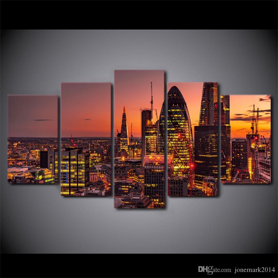 5 Pcs/Set Framed HD Printed London Lights City Building Canvas Art Modern Painting Poster Home Decor Wall Painting Picture