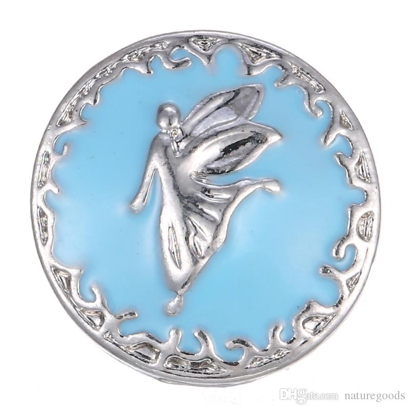 12 adet / grup Yeni Melek Yapış Takı Mavi Emaye 18 MM Yapış Düğmeler Bulguları Kadın Kızlar DIY Aksesuarları için yapış bilezik
