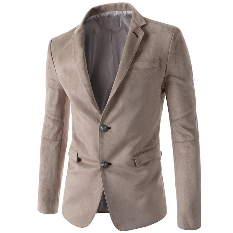 Vente en gros - Mens Black Black Blaser Hommes Casual Slim Costume Simple Bouton Blazers Blazers Mens Sudia Robe De Mariée Outwear Wholesale