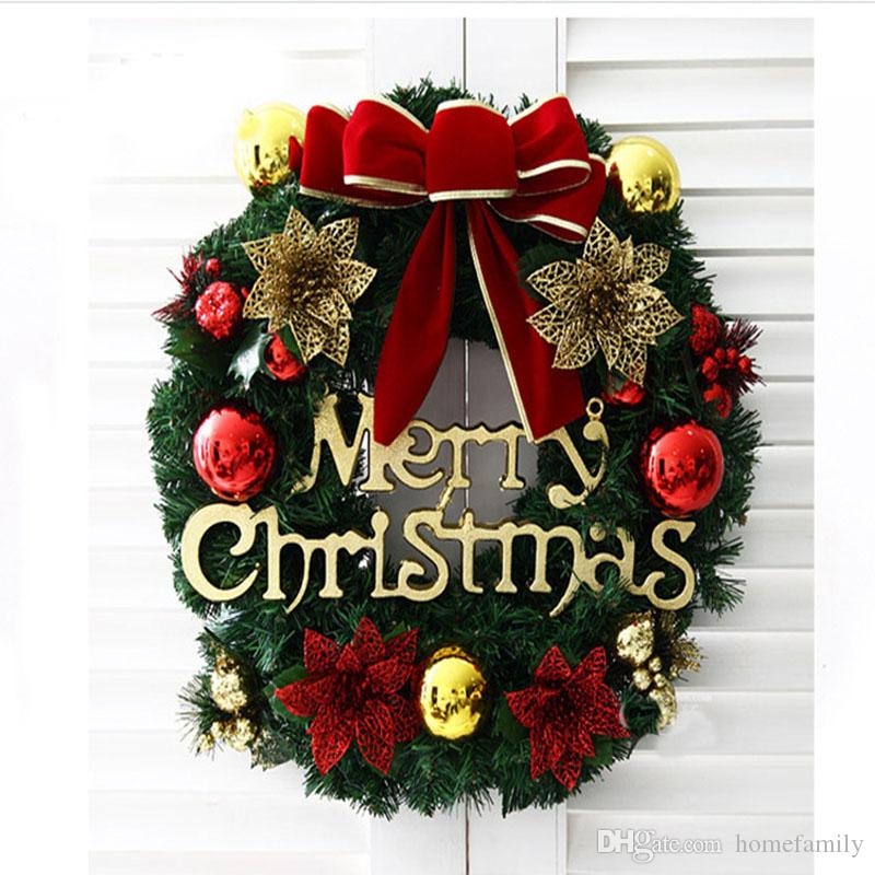 Hanging Christmas Decorations.Creative Multi Christmas Wreaths Party 40cm Wreath Door Wall Decoration Hanging Christmas Balls Christmas Decorations For Market Hotel Holiday