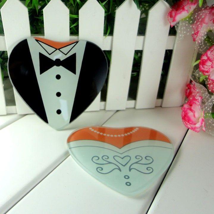 Wedding souvenirs guests bride and groom Glass Cup Coaster Tablemat Cup Mat Casamento Briday Shower favors 100pcs(50sets)