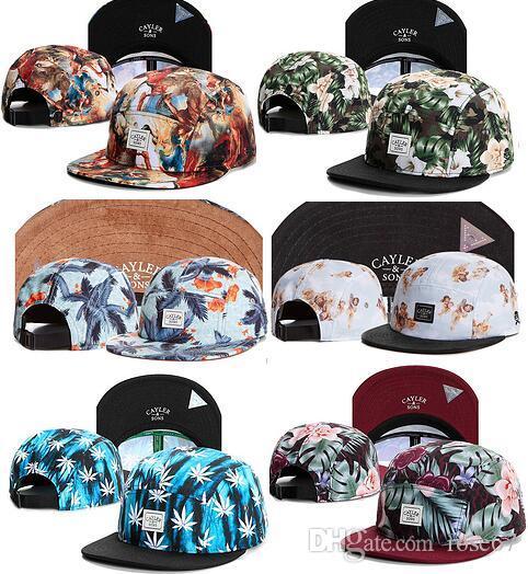 Comercio al por mayor sol de verano sombrero floral cayler e hijos flor 5 panel strapback snapback sombreros hueso snap back Gorras Casquette hip hop gorra de béisbol