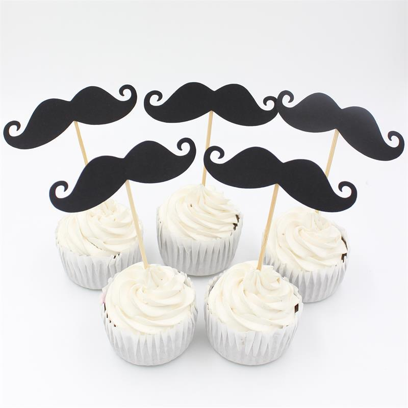 Black Little Man Mustache Cupcake Toppers Boy Birthday Party