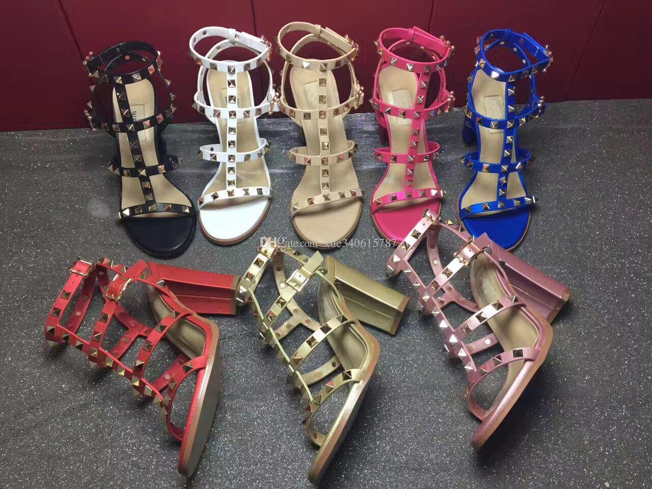 Mais novo 2019 estilo de design da marca de Couro Mulheres Sandálias Stud Slingback Bombas Senhoras Sexy de Salto Alto 9.5 cm Moda rebites sapatos T-cinta 8 Cores