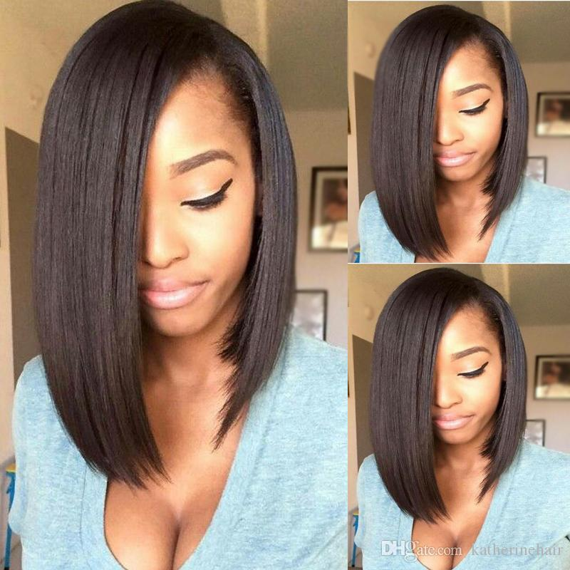 Silky Straight Bob Wig Short Human Hair Full Lace Wig Peruvian Hair Short Cut Lace Fornt Wig For Black Women Long Wigs Short Hair Wigs From