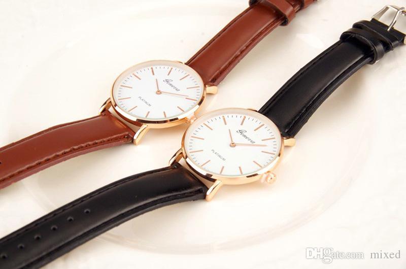 Geneva of The Ultra Thin Belt Two Pin Male Ladies Watch Casual Student Reloj de cuarzo