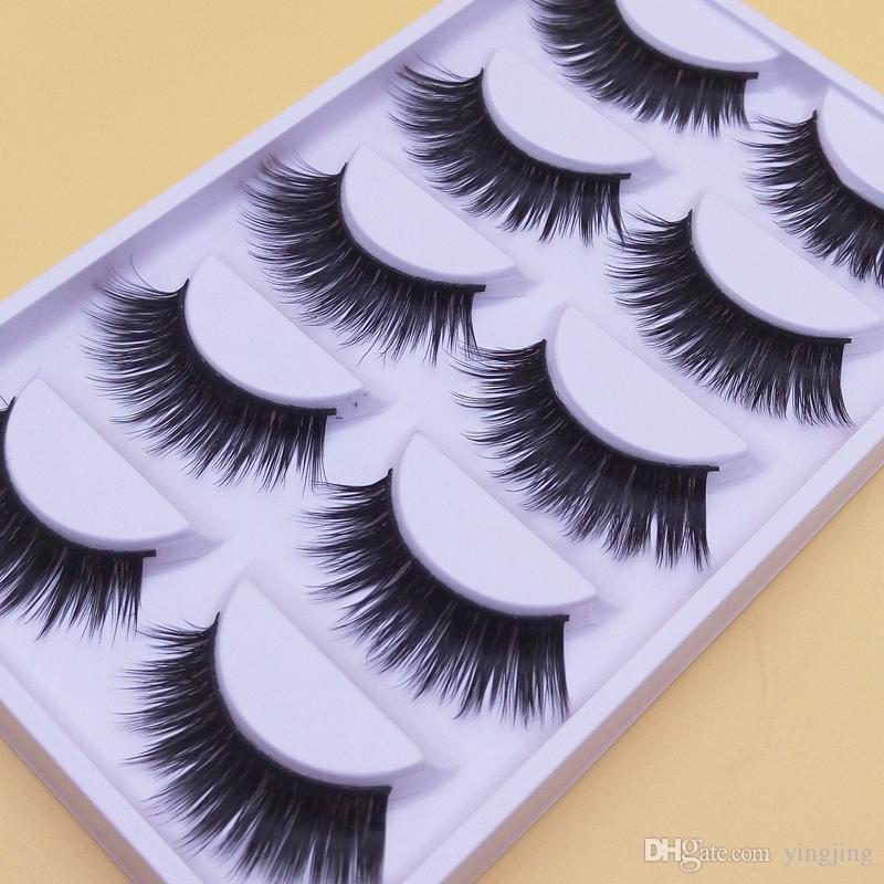 A-6 Thick Makeup Long Fake Eyelashe Quality Handmade False Eyelashes Natural Fiber End Of Eye Slim Models Thick False Eye Lashes