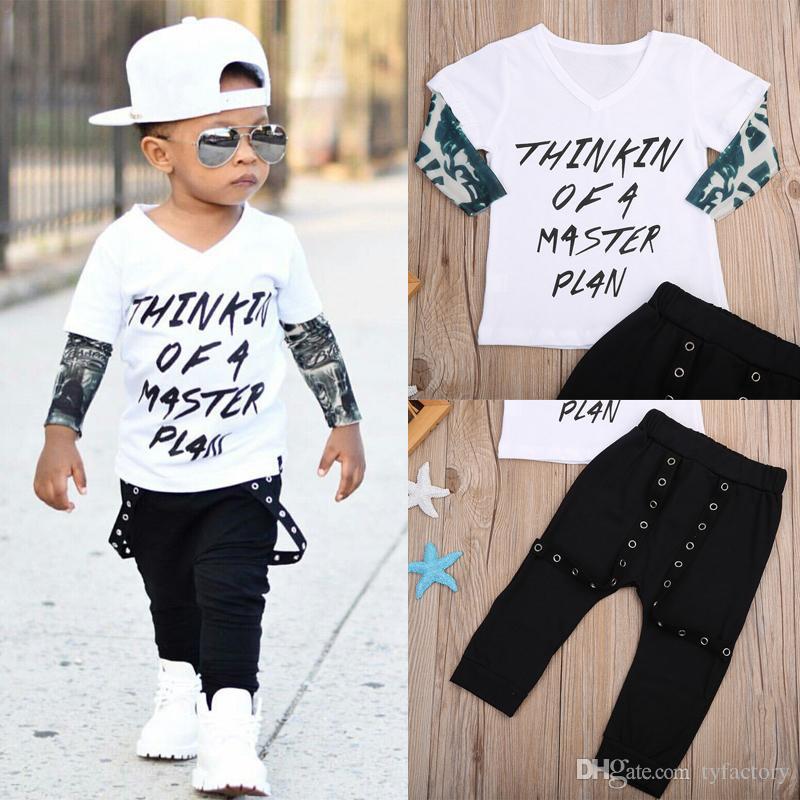 2PCS Recién nacido Niño pequeño Bebé Niño Niña Ropa Top + Pantalones Conjunto de traje de algodón Falso Camiseta de dos piezas Ropa de estilo callejero estadounidense