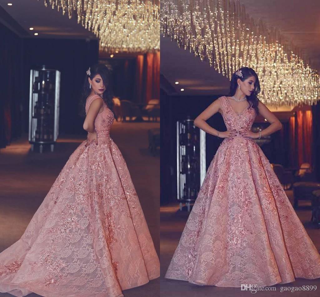 2019 Abiti eleganti da sera lunghi con scollo a V Blush rosa Applique pizzo donne abito formale Arabia Saudita abiti da ballo ongo