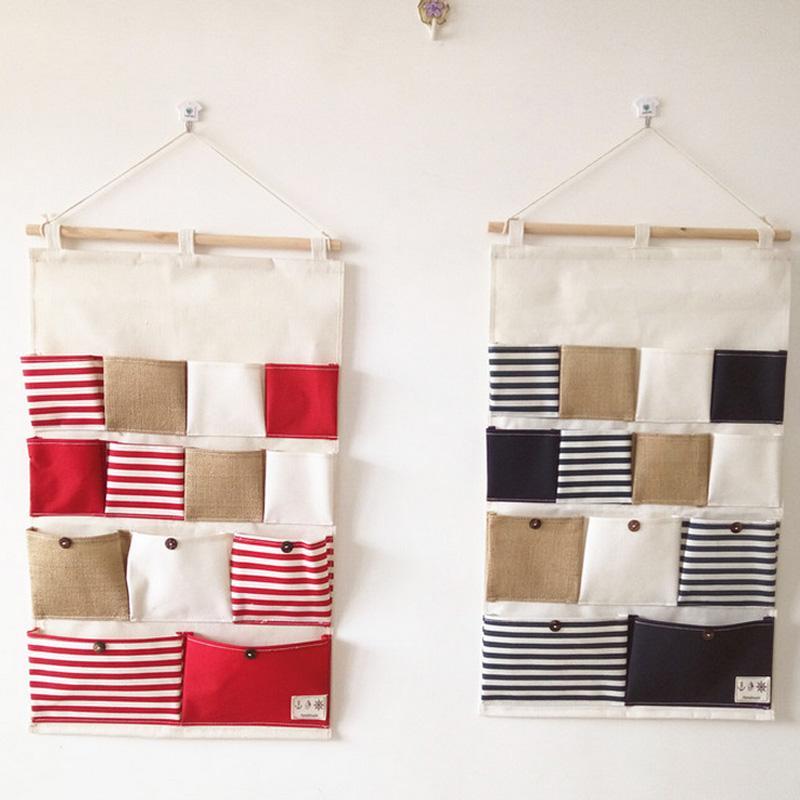 13 pockets home storage bag hanging stripe pouch wall door post bag wall pocket hanging bathroom
