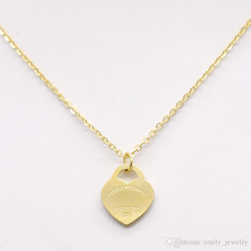 Hot sale Design Heart Love Necklace for Wome Stainless Steel Accessories Zircon Heart Love Necklace For Women Jewelry gift no box