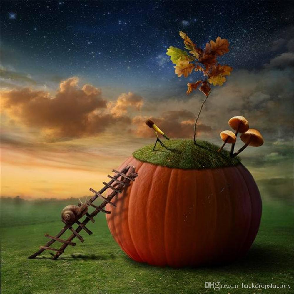 Vinil Tecido de Arte Halloween Backdrops para Fotografia Céu Noturno Estrelas Caracol na Escada Grande Abóbora Crianças Estúdio Foto Fundo Conto de Fadas
