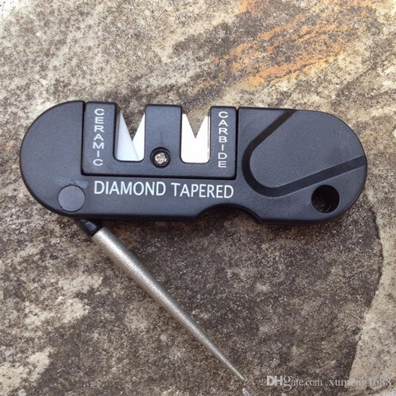 4 in1 Outdoor Pocket EDC Folding Sharpener Ceramic Carbide Diamond  Tapered Tool