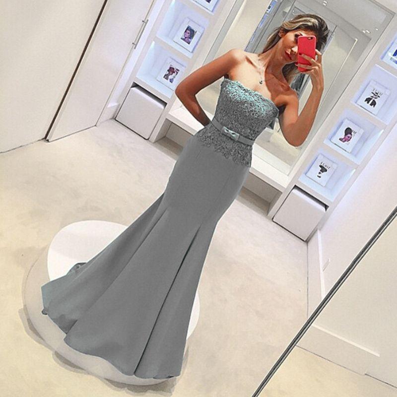 Günstige Spitze Country Style Grau Meerjungfrau Brautjungfer Kleid Trägerlosen Südafrikanische Hausträgerei von Ehrenkleid Hochzeit Guest Kleid Maßgeschneiderte Plus Größe