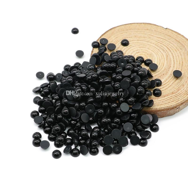 Flatback Half Pearl Beads Black Color ABS Imitation Round Plastic Scrapbook Beads For DIY Jewelry Making