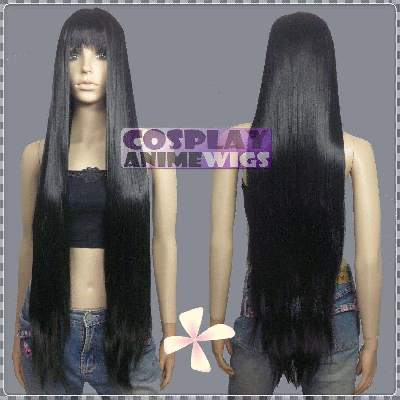 Parrucche lunghe con parrucche lunghe 100% di calore nero con frangia VL_001