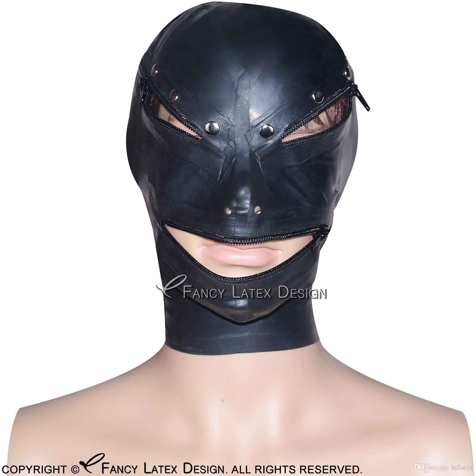 Preto Sexy Latex capa com zíper em Olhos Boca Voltar Zipper aberto na parte traseira Nose Fetish Borracha Máscara Bondage TT-0045
