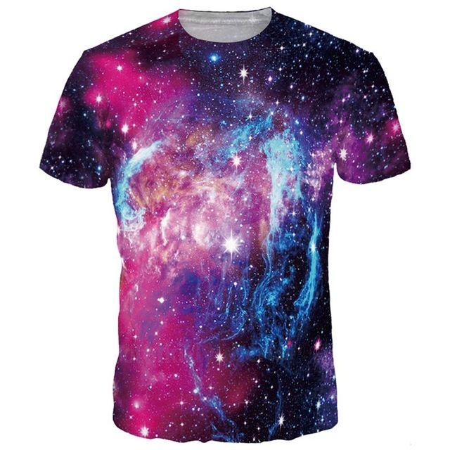 3D футболки Космическая галактика Футболка Мужчины / женщины Мода 3D Футболки Печать Ледяные звезды Звезды Горячая футболка Летние топы Тройники