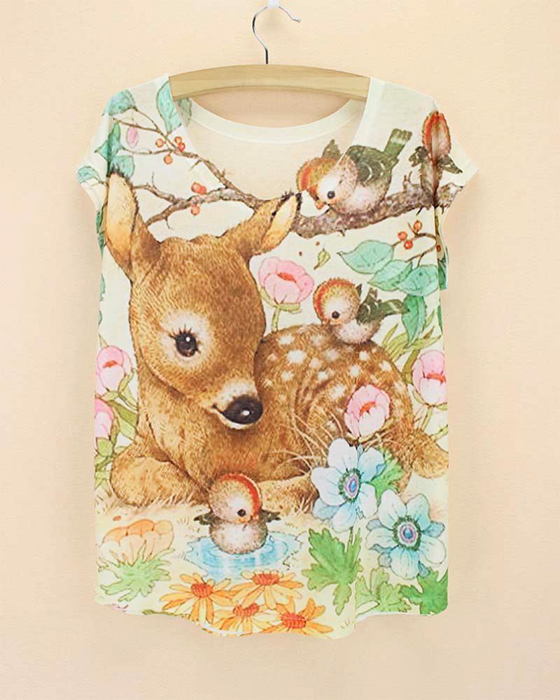 Wholesale- Novelty Fantacy deer + bird print T-shirt girls fashion design top tees high quality low price women summer tee free shipping