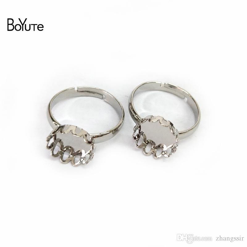 BoYuTe 20Pcs Rhodium Plated Adjustable Ring Blank Bezel Tray 10MM 12MM 14MM 15MM 16MM 18MM 20MM Cabochon Base Diy Jewelry Accessories