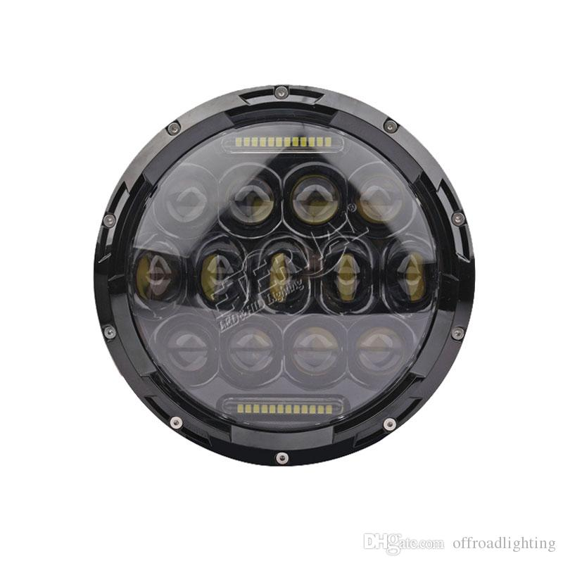 free shipping pair 75W round 7in LED sealed headlight for motorcycle offroad Wrangler Rubicon SUV Polaris powersports vehicles