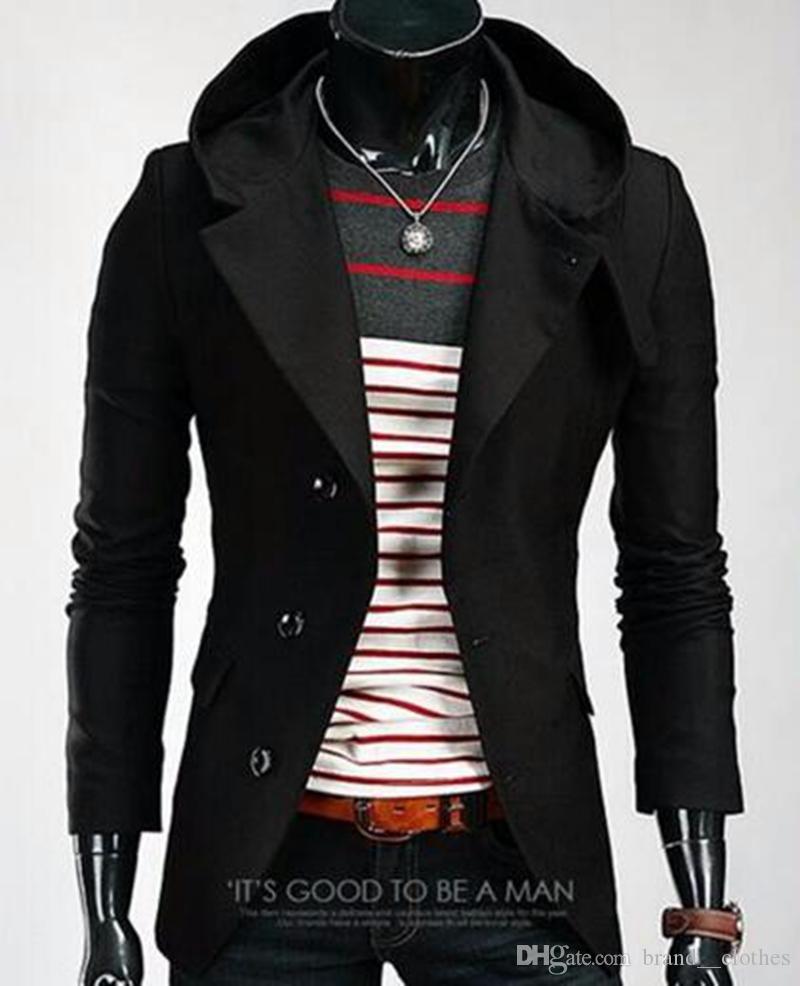 남자 한 판 비즈니스 레저 패션 영국의 부티크 성격 후드 순수 컬러 자켓 / M - 2XL의 새로운 트렌드