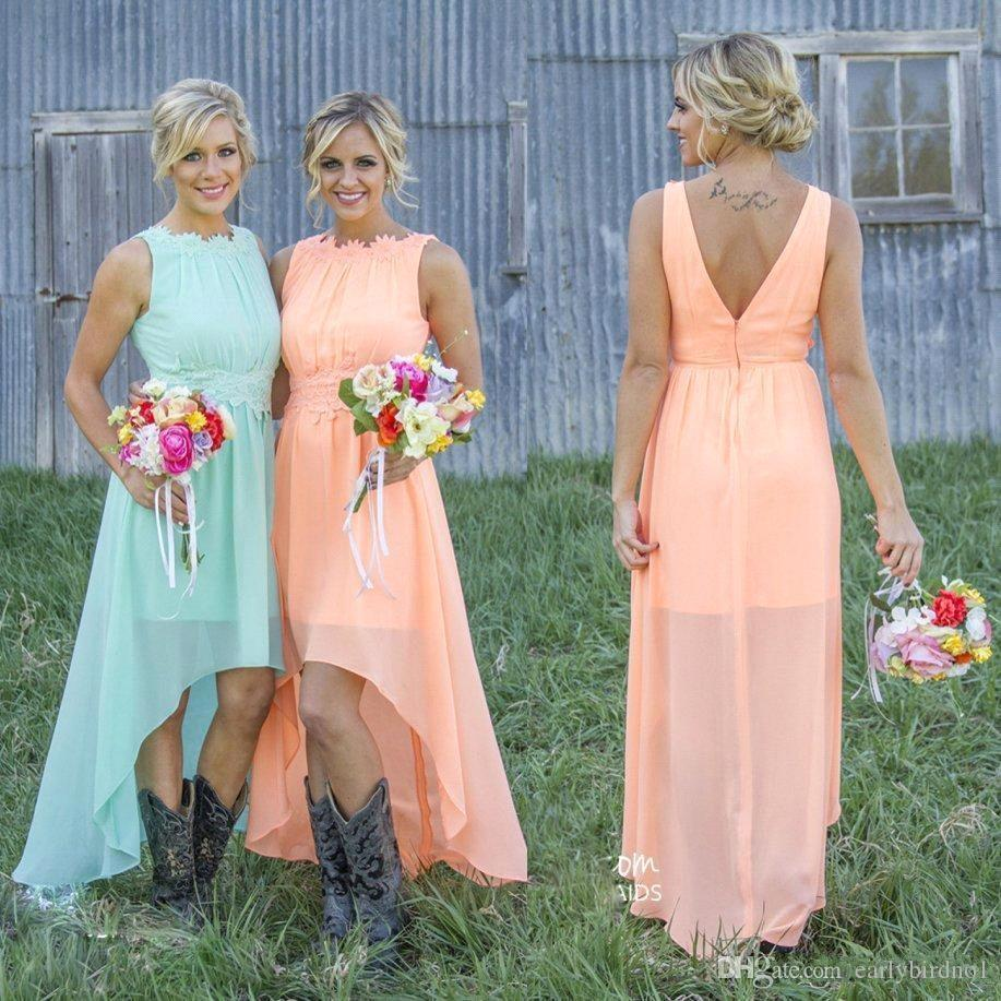 2017 High Low cheap Bridesmaid Dresses For Summer Maid of Honors Cheap Hot Sale Plus Size Lace Chiffon Simple Bridal Party Gowns CPS580