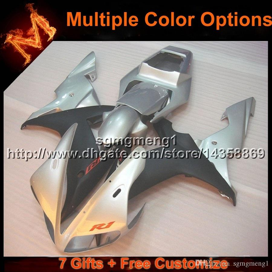 23colors+8Gifts SILVER YZF R1 02 03 motorcycle cowl Fairing For Yamaha YZF1000 2003 YZF-R1 2002 YZFR1 2002 2003 ABS plastic motor panels kit