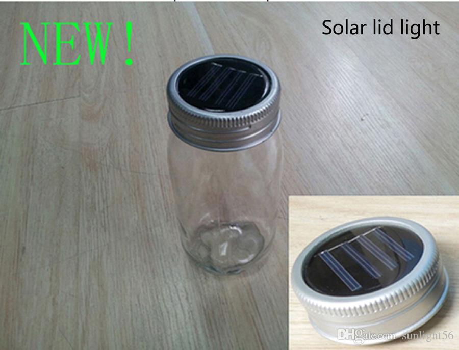 DHL、UPSシルバーとブラックカラーソーラー太陽電池式プラスチックメイソンJARの蓋は任意のMason Jar(jarを含みません)