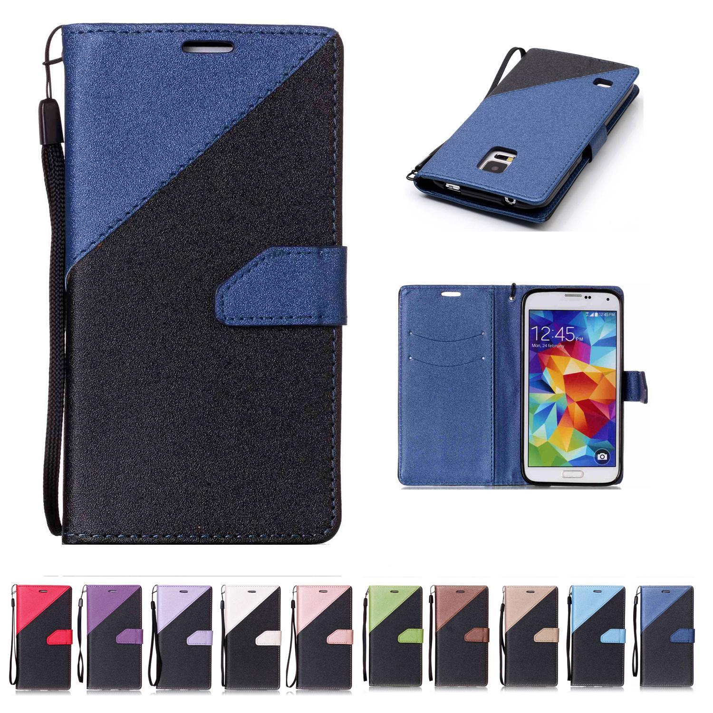 Para Samsung Galaxy S5 Billetera Funda de cuero PU con ranura para tarjetas Correa de mano Sand Beach Diseño de superficie