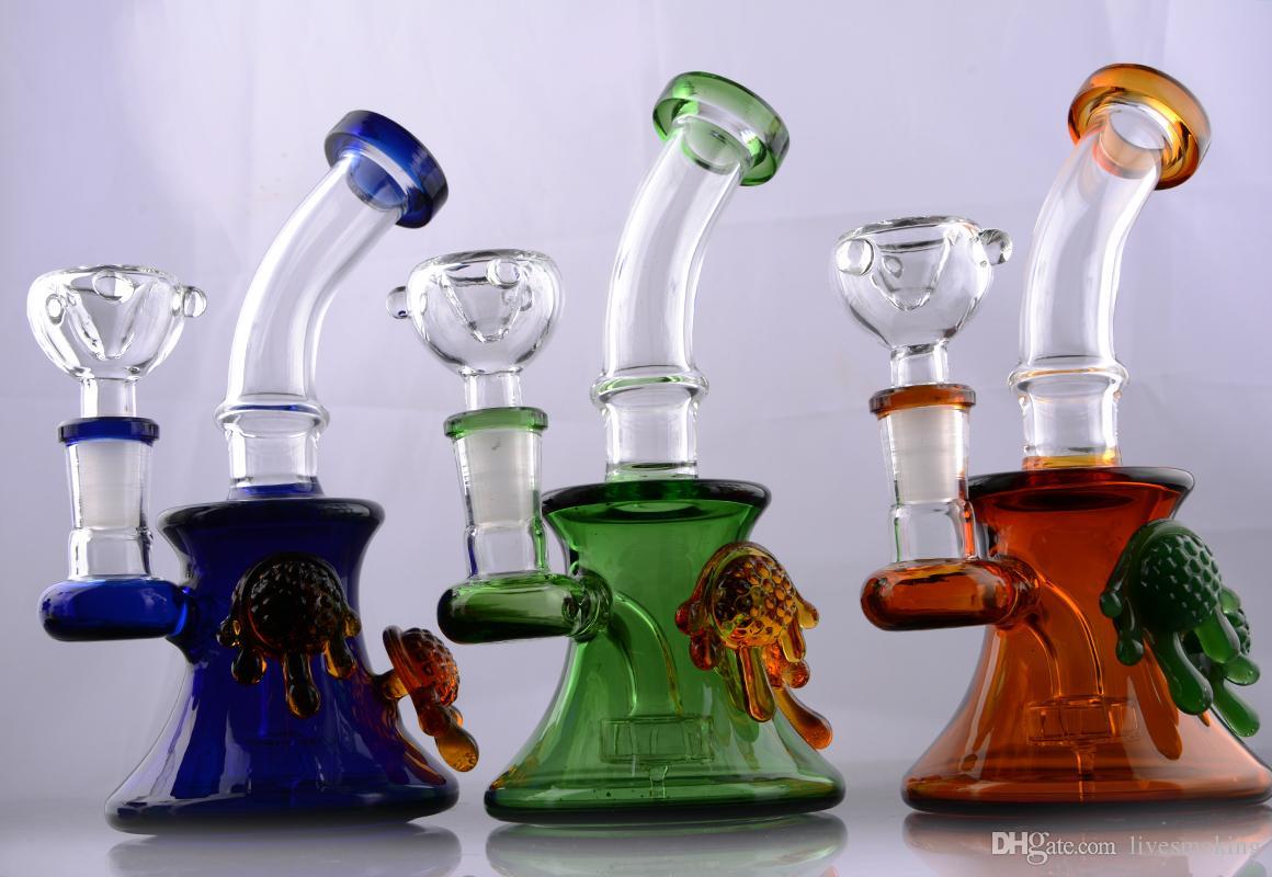 Красочные Beaker Бонг Mini стекло Бонги Малый Чич воды Стекло с 14 мм совместного Зеленый Beaker