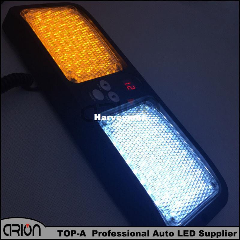 Super Bright Amber/White Car Truck Emergency 86 Led strobe light / Visor light / Warning Police light Lamp White+Amber Yellow