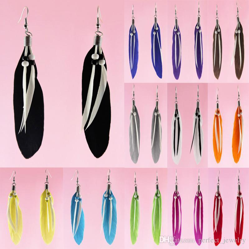 Feather Earrings 12 Colors wholesale lots Cute Bead Charm Simple Light Dangle Eardrop Hot (White Black Purple Blue Green Yellow Red) (JF129)