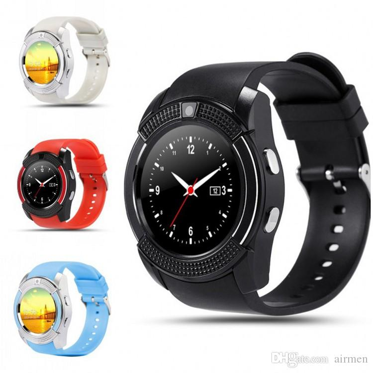 Reloj de la tarjeta inteligente GSM inteligente reloj Bluetooth V8 reloj pulsera de fitness Salud podómetro SIM para iOS / Android PK Q18 GV18 U8