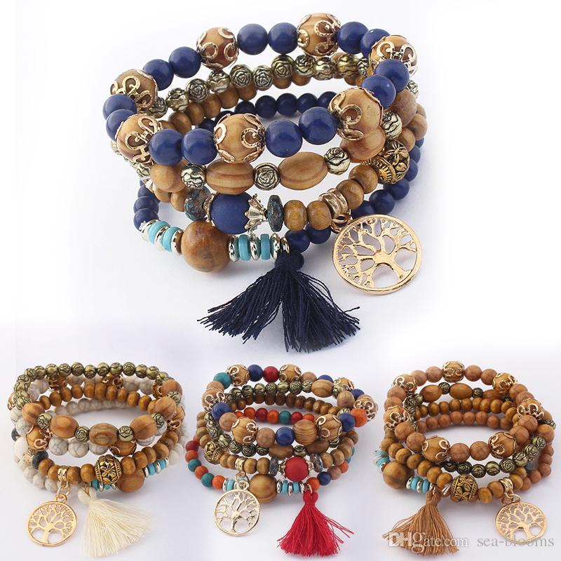 5 Styles New Bohemian Beach Multilayer Wood Beads Tassel Tree Of Life Charm Bracelets Bangles For Women Gift Wrist Mala Bracelet B630S