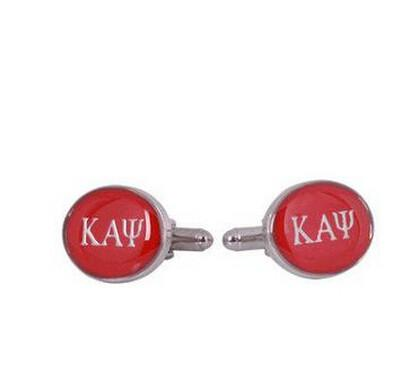 Cuff-Daddy  Alpha Psi Cufflinks in Red Silve