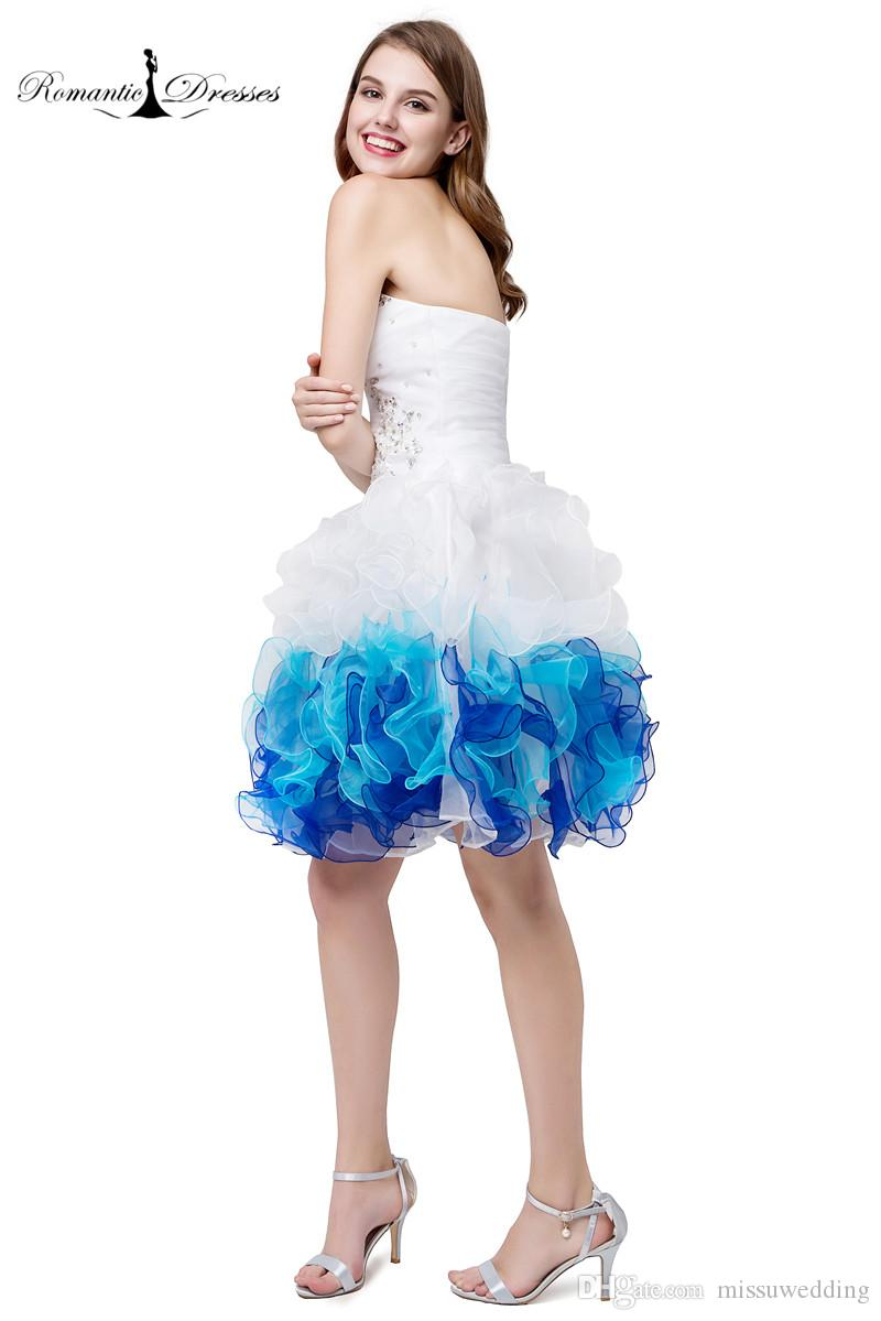 White Blue Organza Short Prom Dresses Ruffles Beaded Sexy Mini ...