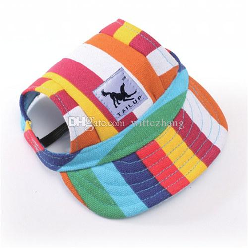 Fashion Dog Hat With Ear Holes Summer Canvas Baseball Cap For Small Pet Dog Outdoor Accessories Hiking Pet Products
