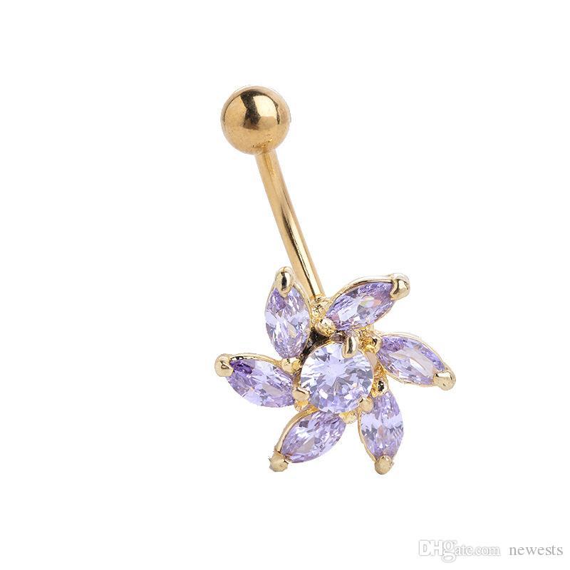 الزهور زر البطن الرقص الشرقي الاكسسوارات السرة مسمار المجوهرات بالجملة