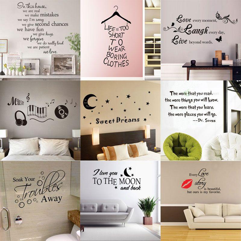 180 stili Nuovo vinile rimovibile Lettering Quote Stickers murali Home Decor Sticker Mordern arte murale per bambini vivaio soggiorno