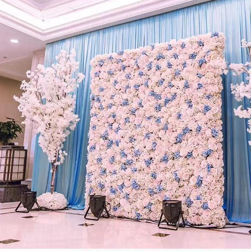 40X60cm 인공 실크 플라워 벽 장미 수국 모란 꽃 벽 장식 웨딩 스테이지 호텔 배경 가정 장식