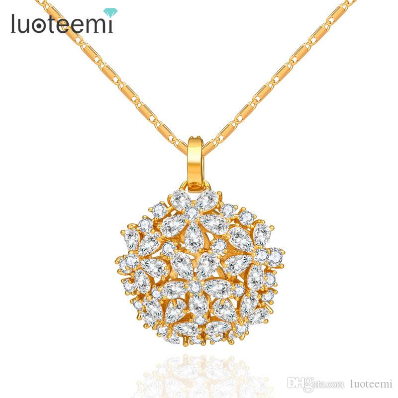 LUOTEEMI Brand Luxury Necklaces & Pendants Costume Jewelry Big Shinning Flower Cubic Zirconia Champagne Gold-Color Free Shipping