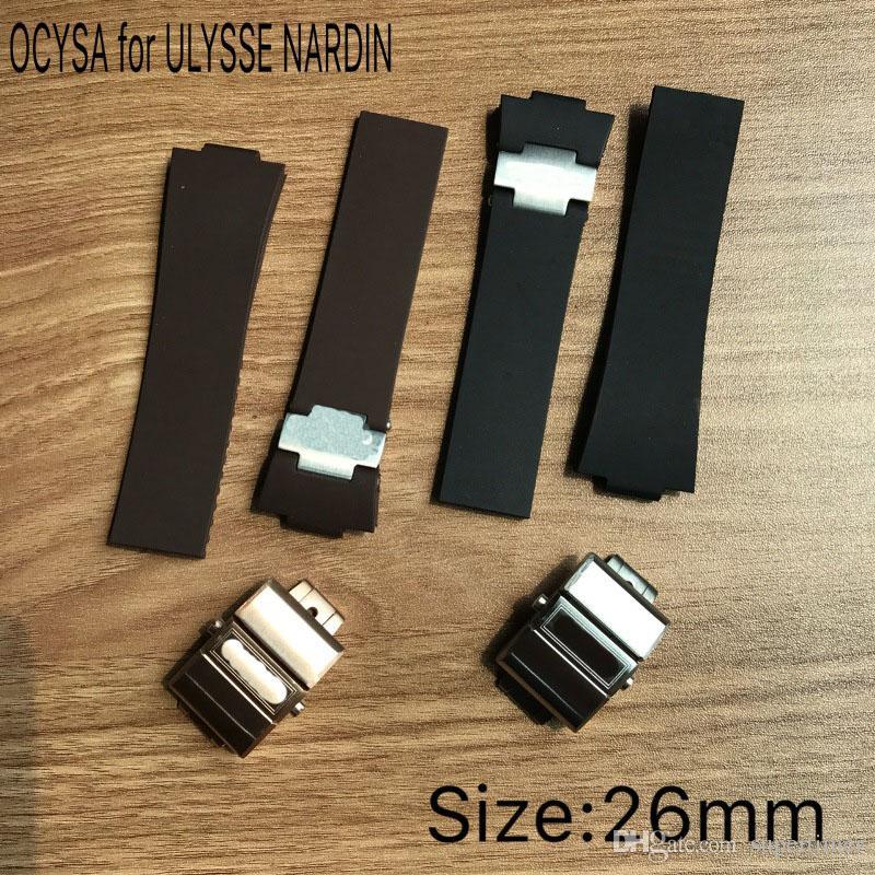 Correa de reloj de 26 mm de caucho, negro, marrón y dorado. Correa de cuero. Correa de reloj.
