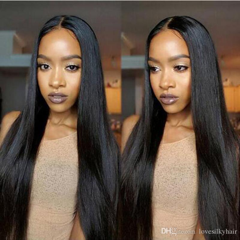 Sıcak uzun düz tam peruk simülasyon brazilain İnsan saç orta kısmı ön uzun peruk ipeksi düz tam peruk