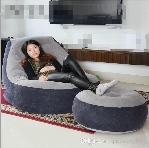 Plegable ocio inflable perezoso almuerzo conjunto sofá ocio con pedal FootStool cama para dormir silla moderna con caja de venta al por menor Muebles de gran tamaño